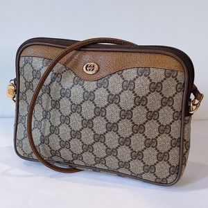 Vintage Monogram Gucci Coated Canvas Crossbody Bag